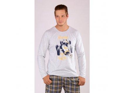 Pánské pyžamo dlouhý rukáv Závodní auto světle šedá-XL