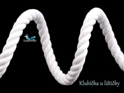 Bavlněná šňůra kroucená 10mm bílá