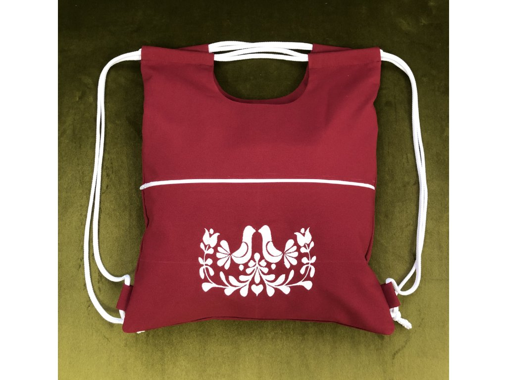 Vak/taška vyšívaná bordová