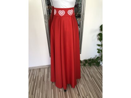Sukňa s výšivkou dlhá - červená