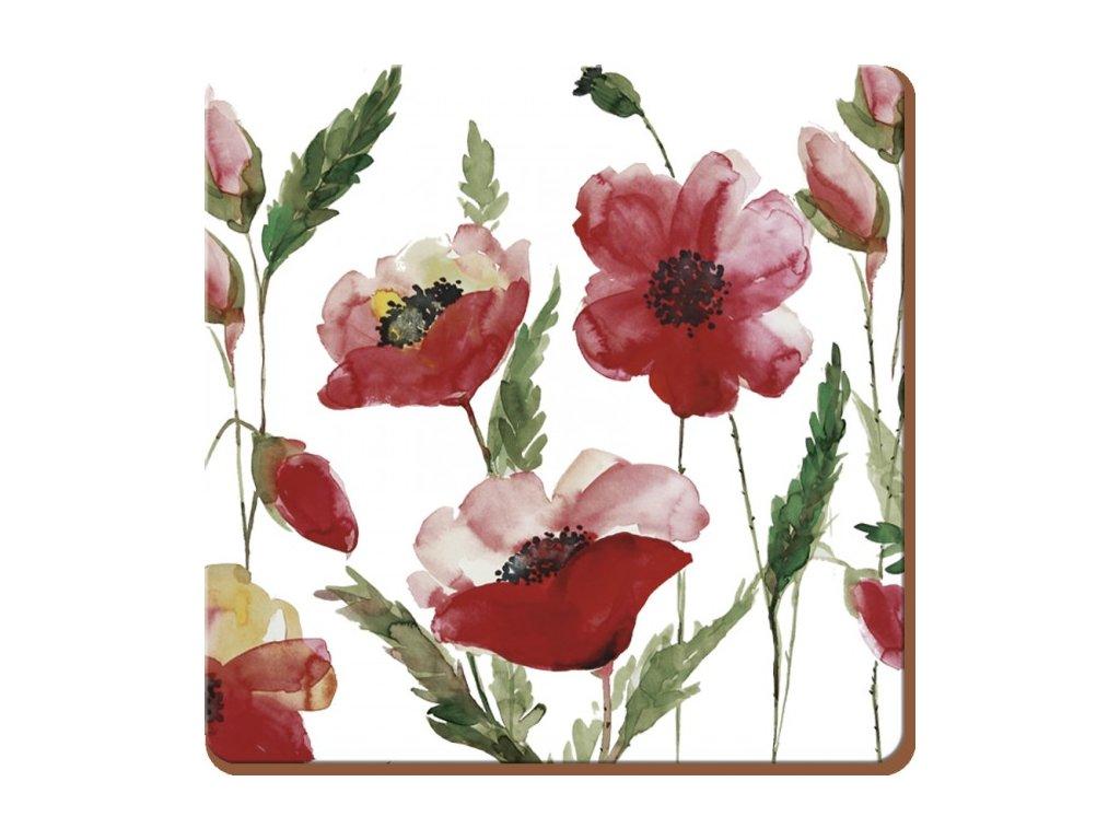 watercolour poppy coaster