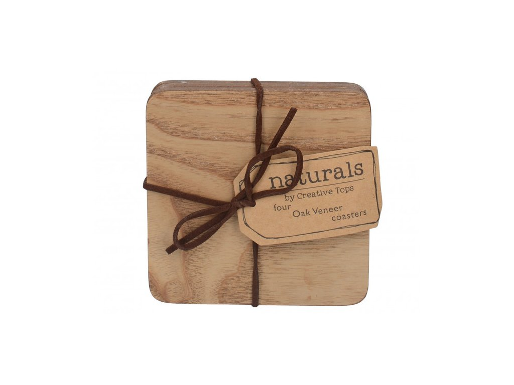 Creative Tops Korkové podložky pod skleničky Wood 10,5x10,5 cm 4 ks