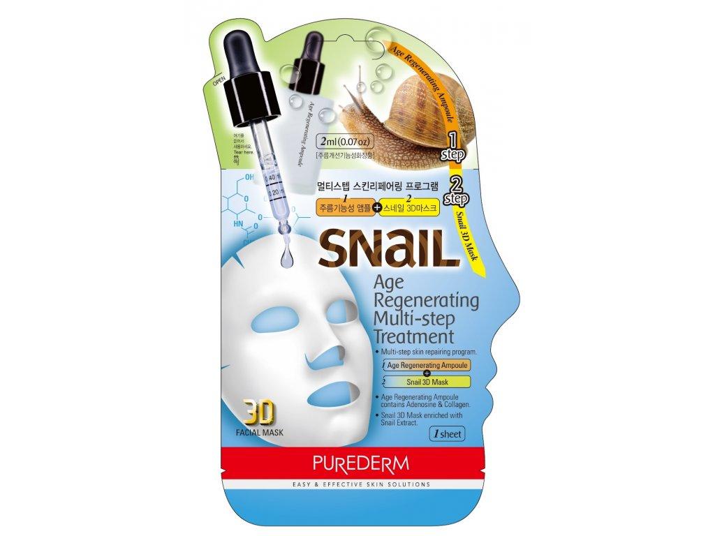 Purederm Pleťová 3D maska se šnečím extraktem+Regenerační ampule s kolagenem, 1 ks