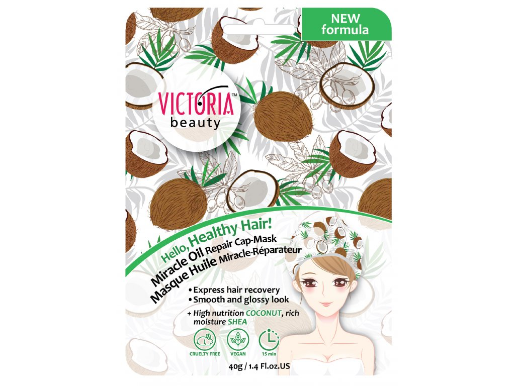 Victoria Beauty Výživná kokosová maska na vlasy ve tvaru čepice 40 g