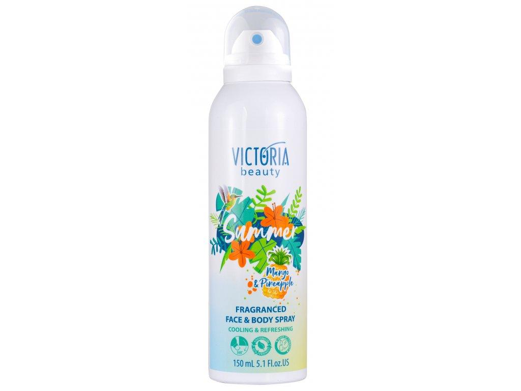 Victoria beauty Summer Osvěžující parfemovaný sprej na obličej a tělo Mango a ananas 150 mL