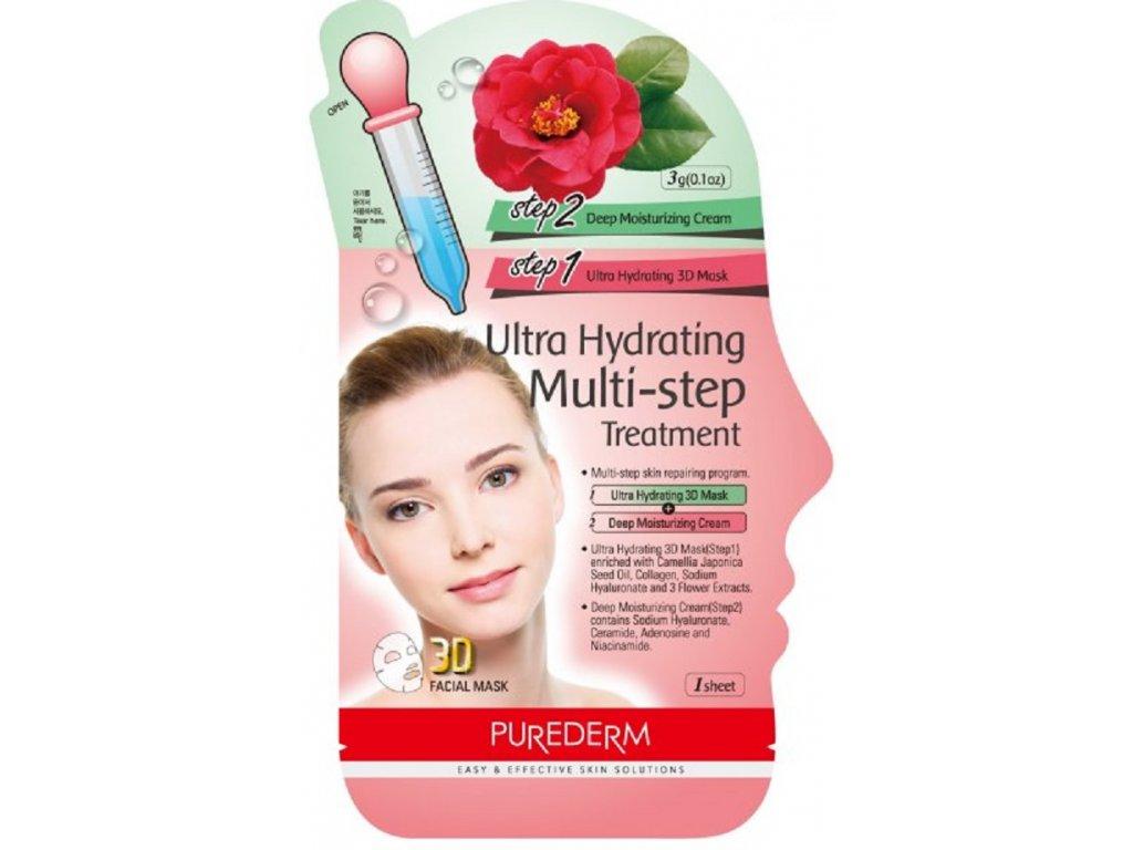 Purederm Ultra hydratační pleťová 3D maska, 1 buničitý plát+krém, 1ks