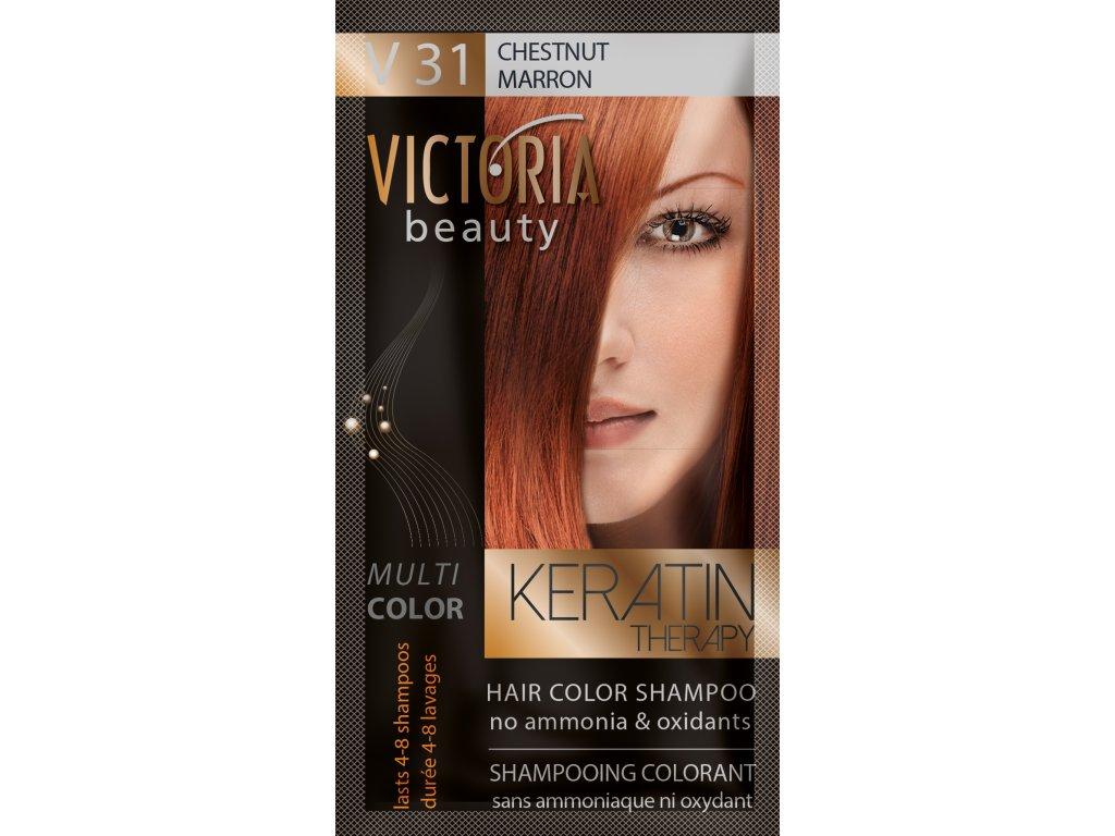Victoria Beauty Keratin Therapy Tónovací šampon na vlasy V 31, Chestnut, 4-8 umytí