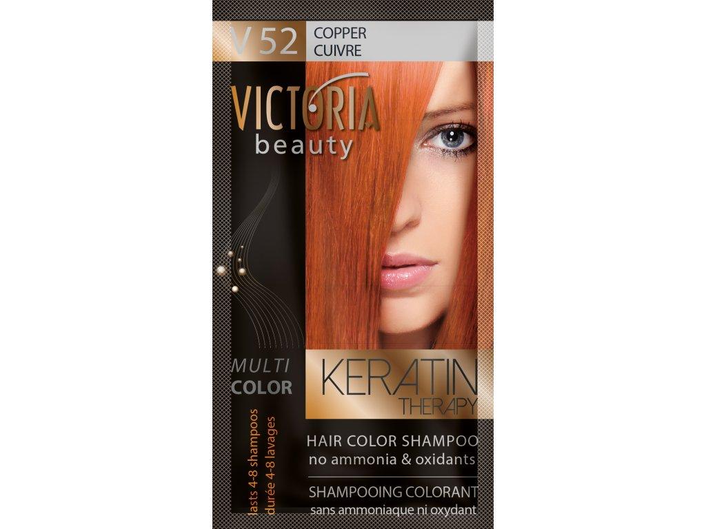 Victoria Beauty Keratin Therapy Tónovací šampon na vlasy V 52, Copper, 4-8 umytí
