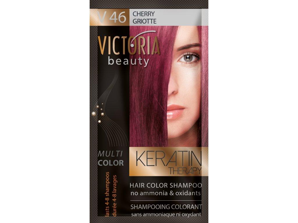 Victoria Beauty Keratin Therapy Tónovací šampon na vlasy V 46, Cherry, 4-8 umytí