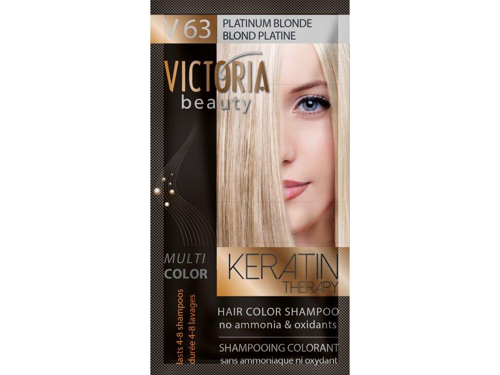 Victoria Beauty Keratin Therapy Tónovací šampón na vlasy V 63, Platinum blonde, 4-8 umytí