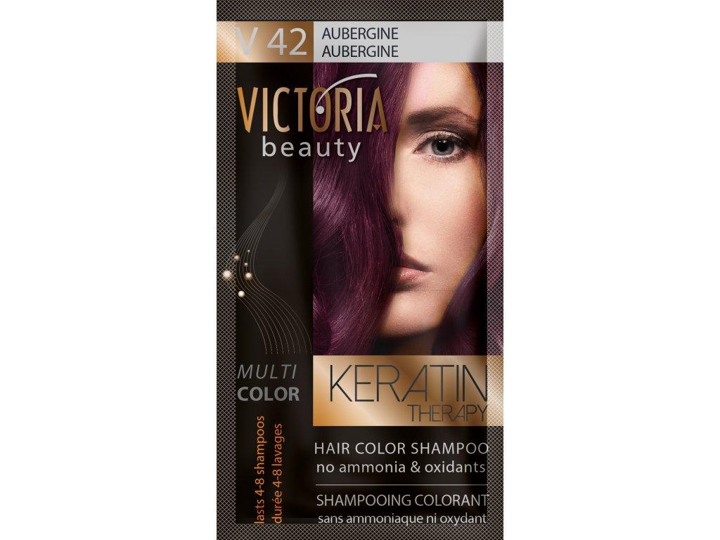 Victoria Beauty Keratin Therapy Tónovací šampon na vlasy V 42, Aubergine, 4-8 umytí