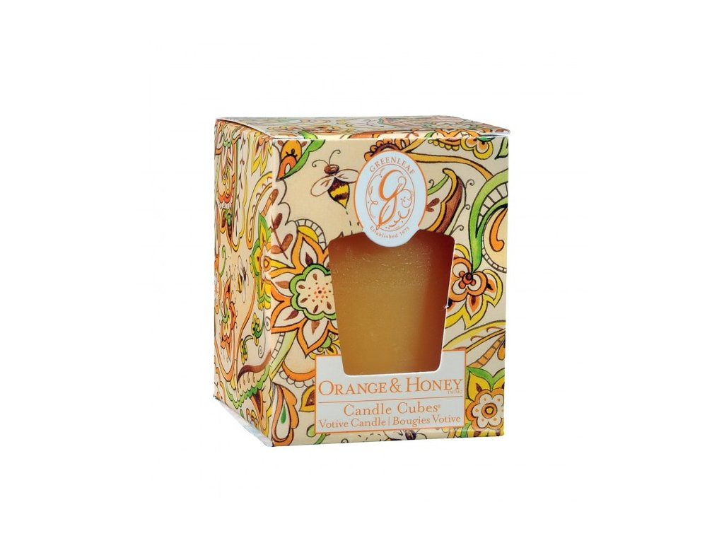 gl candle cube votive orange honey