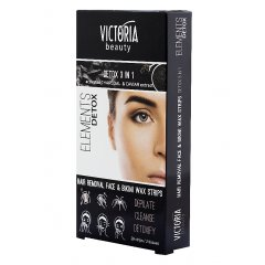 Victoria Beauty DETOX Depilační pásky na obličej a oblast bikin, 20 pásků+2 olejové ubrousky, 22 ks