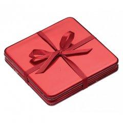 Kitchen Craft Vánoční podložky pod hrníčky červené 10x10 cm 4 ks