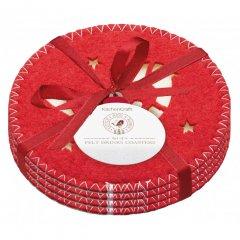 Kitchen craft Vánoční podložky pod hrníčky textilní Little Red Robin, 10x10 cm 4 ks