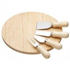 Kitchen Craft Kulaté dřevěné prkénko na sýr s noži a vidličkou 25x25 cm
