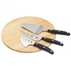 Kitchen Craft Dřevěné prkénko na sýr s noži 25x25 cm