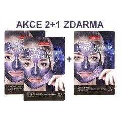 Purederm Galaxy Slupovací maska Diamantový třpyt fialová AKCE 2+1 ZDARMA, 3 ks