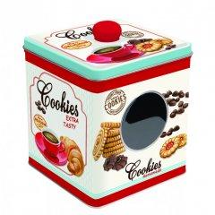 Easy Life Plechová dóza na bonbóny Cookies bílá 13x13x14,5 cm
