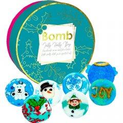 Bomb cosmetics Dárková sada máslových kuliček do koupele Jolly Holly 7 ks