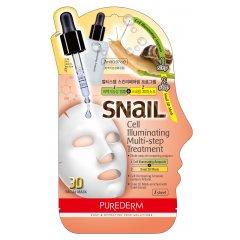 Purederm Pleťová regenerační maska pro prozáření pokožky se šnečím extraktem, Ampule+3D maska