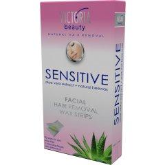 Victoria Beauty Depilační pásky na obličej pro citlivou pokožku, 20 pásků+2 olejové ubrousky