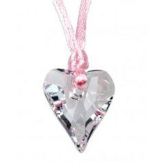Náhrdelník s kamenem Swarovski Divoké srdce Krystal/Růžová