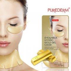 Purederm Zlatá hydrogelová maska pro oční okolí a krk, 3 páry oční masky+ 3 x hydrogelová maska na krk, AKCE 2+1 ZDARMA , 3ks