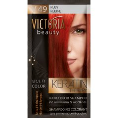 Victoria Beauty Keratin Therapy Tónovací šampon na vlasy V 49, Ruby, 4-8 umytí