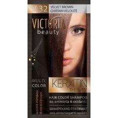 Victoria Beauty Keratin Therapy Tónovací šampon na vlasy V 32, Velvet brown, 4-8 umytí