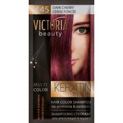 Victoria Beauty Keratin Therapy Tónovací šampon na vlasy V 45, Dark Cherry, 4-8 umytí