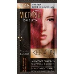 Victoria Beauty Keratin Therapy Tónovací šampón na vlasy V 48, Wine red, 4-8 umytí