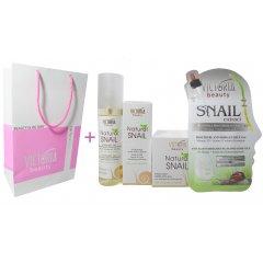 Victoria Beauty Natural snail HYDRA-REST Dárkový balíček Pleťové sérum, pleťový krém, micelární voda, pleťová maska + dárková taštička zdarma, 5 ks