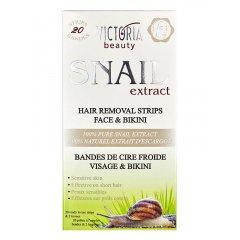 Victoria Beauty Snail extract Depilační pásky na obličej a oblast bikin, 20 pásků+2 olejové ubrousky