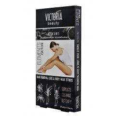 Victoria Beauty Depilační pásky na tělo DETOX 3 v 1, 20 pásků+2 olejové ubrousky