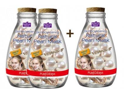 Purederm Pleťová maska s výtažkem z perel a vitamínem E, AKCE 2+1 ZDARMA, 3ks