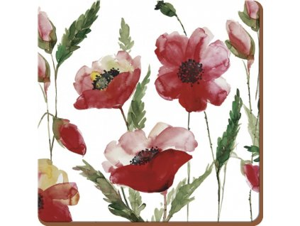 watercolour poppy coaster