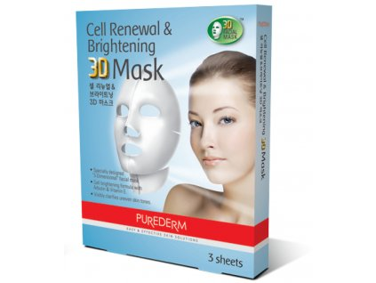 Purederm Rozjasňující 3D pleťová  maska pro obnovu buněk, 3 kusy