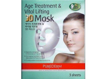Purederm  Omlazující liftingová + Rozjasňující 3D pleťová maska pro obnovu buněk, 6 ks