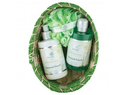 Victoria Beauty Spa Aroma Therapy Dárkový košíček Sensual touch Tělové mléko, sprchový gel, mycí houba, 3 ks