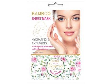 Victoria Beauty Textilní bambusová pleťová maska Roses and hyaluron s kyselinou hyaluronovou 25 ml