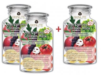 Skinlite Pleťová kolagenová maska s proti-stárnoucím účinkem, AKCE 2+1 ZDARMA, 3ks