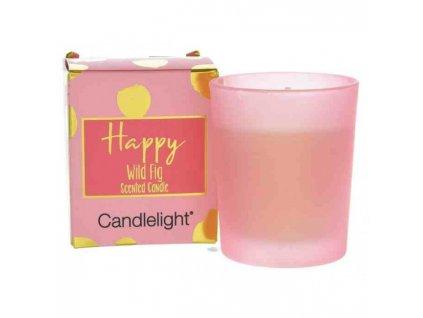 Candlelight Vonná votivní svíčka ve skleničce a dárkové krabičce Happy Wild Fig