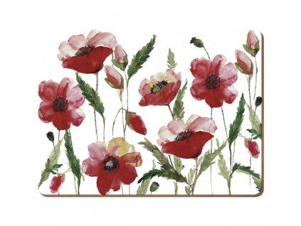 watercolour poppy mat