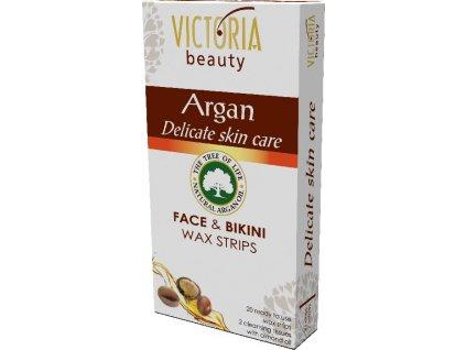 Victoria Beauty ARGAN Victoria Beauty depilační voskové pásky na obličej a oblast bikin s arganovým olejem, 20 kusů + 2 ubrousky , 22ks