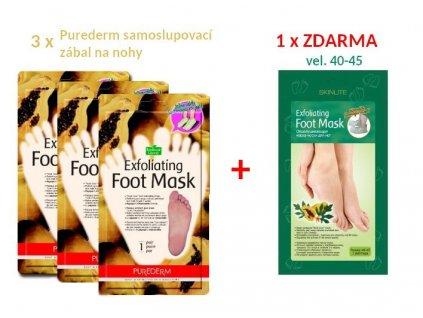Purederm a Skinlite Pedikúra -Samoslupovací maska na nohy s papájou, Akce 3 + 1 ZDARMA, 4 ks