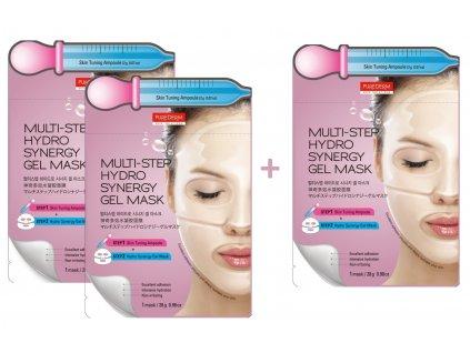 Purederm Dvoufázová pleťová hydrogelová maska, 1 gelový plát+ aktivní sérum 2 g, AKCE 2+1 ZDARMA, 3ks