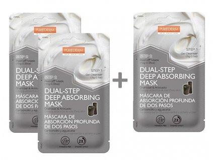 Purederm Slupovací maska s uhlím a avokádem ve dvou krocích, AKCE 2+1 ZDARMA, 3 ks