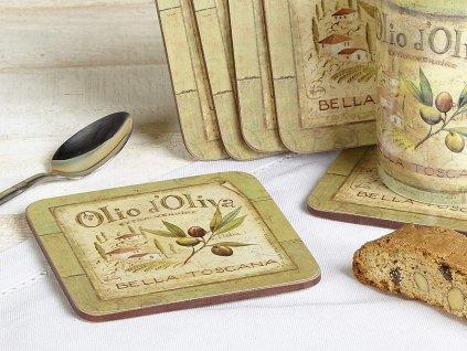 Creative Tops Korkové prostírání pod skleničky Olio d´oliva, 10x10 cm, 6 ks