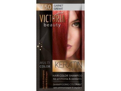 Victoria Beauty Keratin Therapy Tónovací šampón na vlasy V 50, Garnet, 4-8 umytí